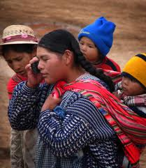 Bolivian Woman on Cell Phone
