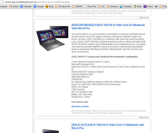 ASUS website discontinued