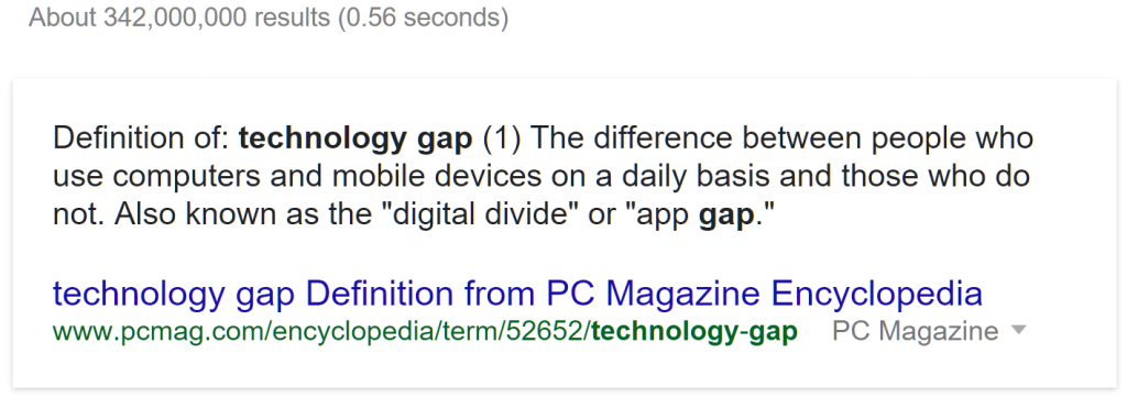 Defin Technology Gap